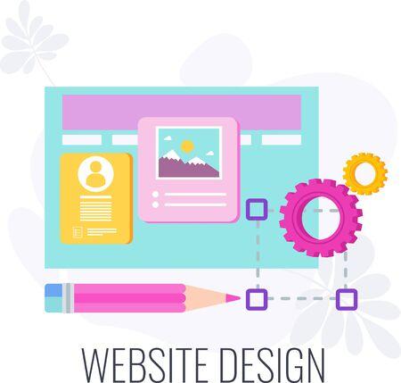 Website design icon. Creative design. Company engaging site, webpage or landing page on internet. Flat vector illustration. Standard-Bild - 147095041