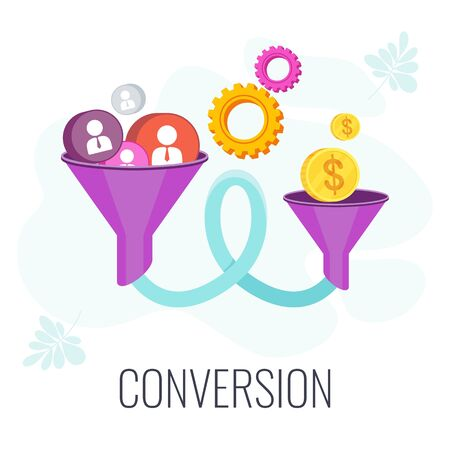 Conversion Rate optimization. Potential customer becoming an actual customer. Lead generation. Sales funnel. Digital online marketing KPI. Strategy and management. Flat vector illustration Standard-Bild - 147097099