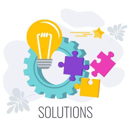 Business solution Infographics Pictogram. Flat vector illustration. Illustration