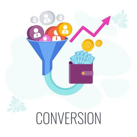 Conversion Rate optimization. Potential customer becoming an actual customer. Standard-Bild - 147226871