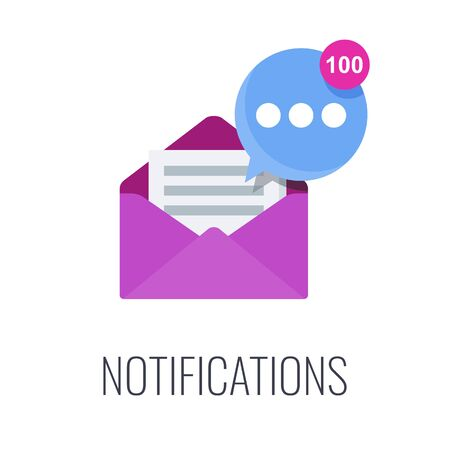 Notifications. Email in mailbox. Flat vector illustration.