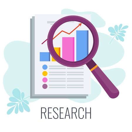 Marketing research icon. Flat vector illustration on white background. Vectores