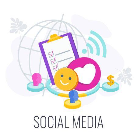 Social Media Infographics Pictogram. Flat vector illustration.