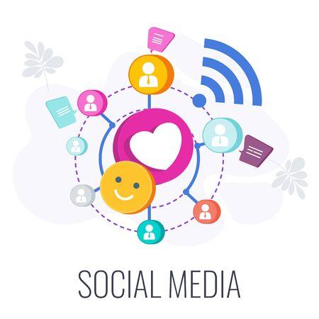Social Media Infographics Pictogram. Global association of people of interest.