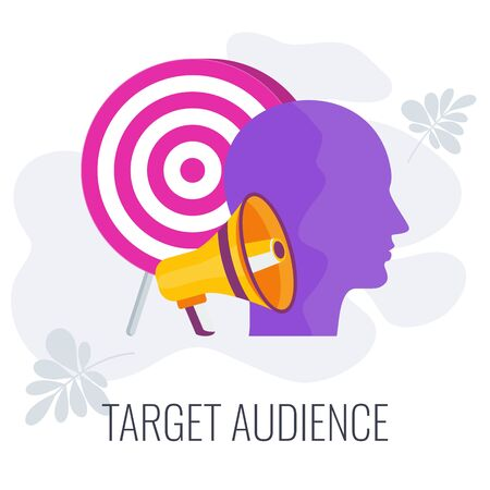 Target audience. Advertising and marketing strategies. Flat vector illustration. Standard-Bild - 147233092