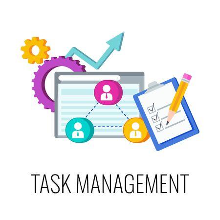 Task management Infographics Pictogram. Flat vector illustration.