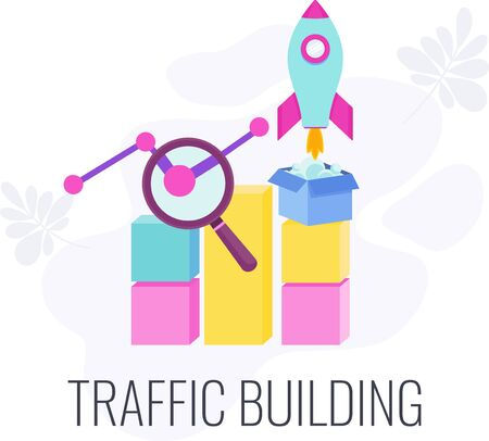 Web traffic. Internet traffic building infographic pictogram. Digital marketing strategy. Website promotion on Internet, increasing popularity. Flat vector illustration Illustration