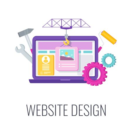Website design icon. Construction crane puts blocks of information on a site. Engaging site, landing page. Company webpage on the internet. Flat vector illustration.