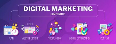Digital marketing components banner. Flat vector illustration. Illustration