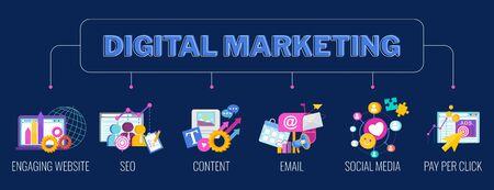 Digital marketing banner. Infographics Pictogram. Flat vector illustration. Standard-Bild - 147321199