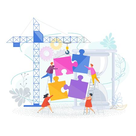Small people connect puzzle pieces. Construction site with a tower crane. Teamwork, help and support, mutual understanding. Human Resource Management and Problem Solving. Trendy flat vector style.