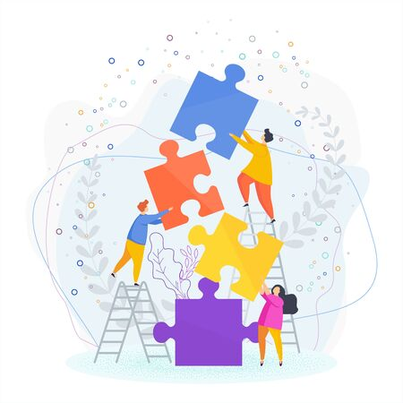 Small people put the pieces of the puzzle together.