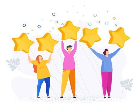 People raised large stars above their heads. Customer feedback.