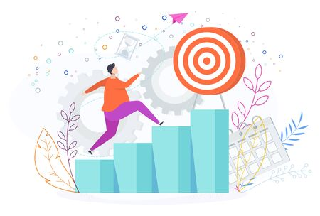 Man runs up the ladder of success to the goal. Illustration