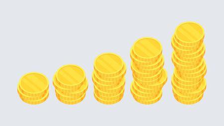 Coins. Heap of gold dollars. Flat vector cartoon illustration.