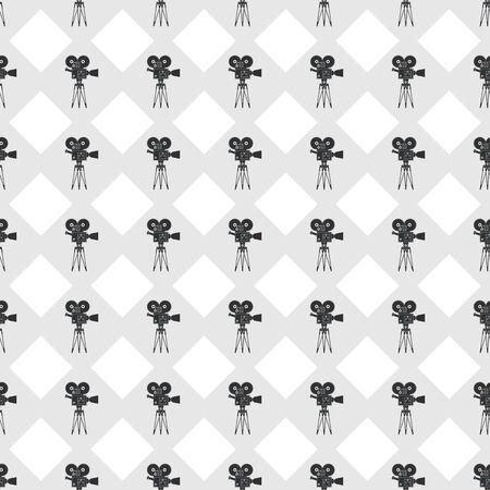 Cinema seamless pattern. Simple geometric wallpaper with movie camera.