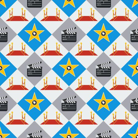 Cinema seamless pattern. Wallpaper with red carpet, walk of fame and clapboard.