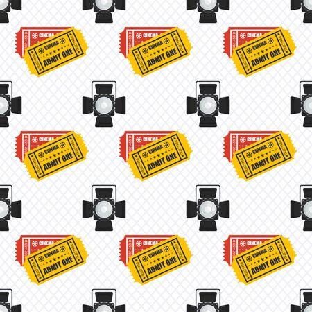 Cinema seamless pattern. Wallpaper spotlight, projector and film ticket.
