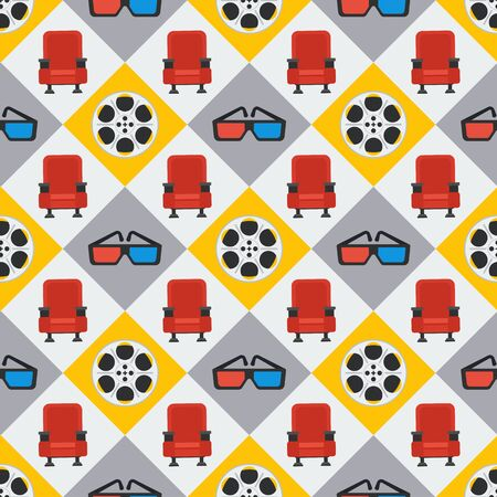 Cinema seamless pattern. Wallpaper with armchair, film reel and stereo glasses.