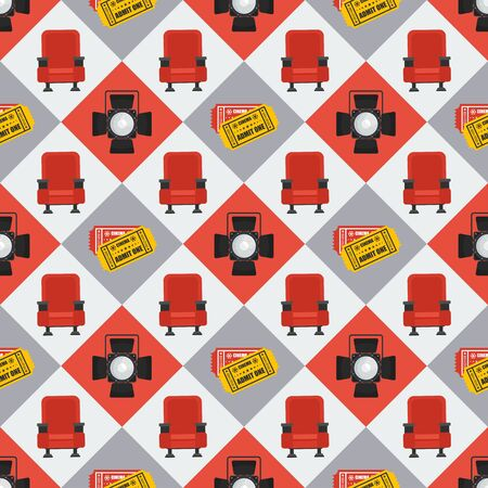 Cinema seamless pattern. Wallpaper with armchair, film ticket and spotlight.