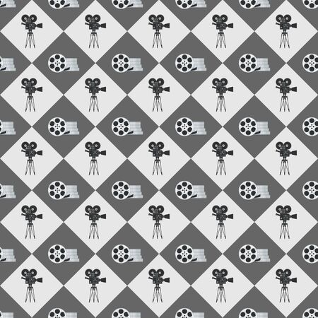 Cinema seamless pattern. Wallpaper with movie camera and film reel.