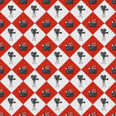 Cinema seamless pattern. Wallpaper with movie camera and clapboard.