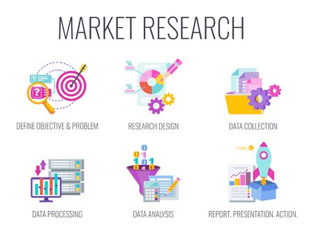 Market research icons. Marketing infographics.