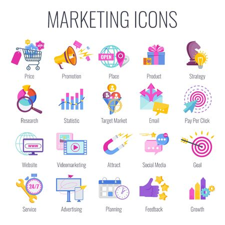 Marketing icons. Marketing mix infographic. Strategy and management. Segmentation, target audience. Successful positioning of company in market. Flat vector illustration. Illustration
