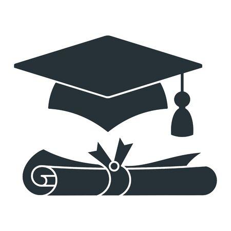 Graduation cap with diploma vector black icon.