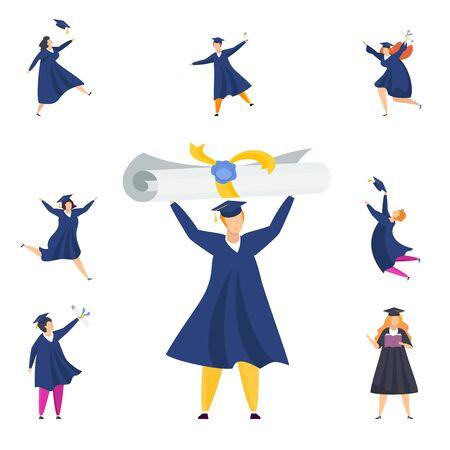 Happy graduated students. Group of boys and girls celebrating university graduation. Flat cartoon vector illustration.