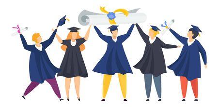 Happy graduated students. Group of boys and girls celebrating university graduation. Flat cartoon vector illustration. Vecteurs