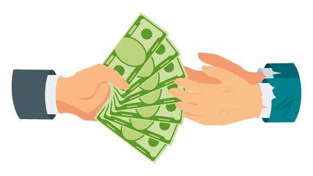 Donate money. Rich man hands money to poor, needy.