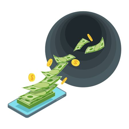 Black Hole Money. Waste of money. Banknotes fly away.
