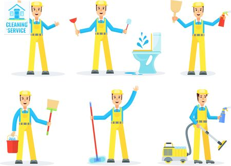 Cleaning service staff team. and private homes. Vector flat cartoon character.