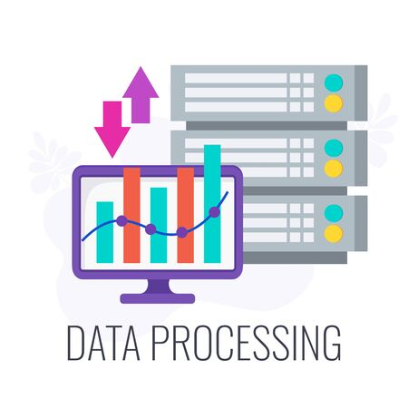 Data processing icon. Flat vector business illustration Illustration