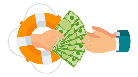 Donate money. Cash assistance. Hands from lifebuoy reach wad of money. Rich man hands money to poor, needy. Charity, patronage and sponsorship. Flat vector cartoon illustration.