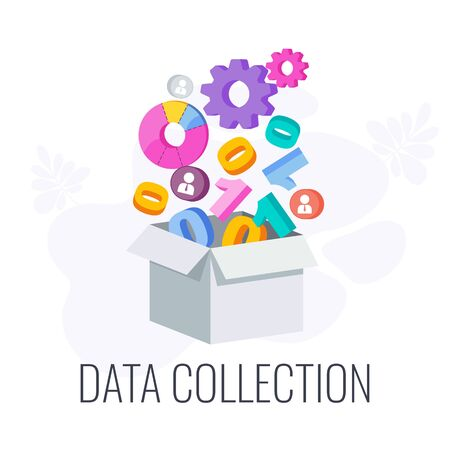 Data Collection Icon. Market research. Information about market, company and customers is accumulated in a large box. Flat vector illustration. Illustration