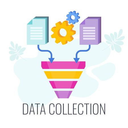 Data Collection Icon. Information falls into the data funnel. Market research. Flat vector illustration.