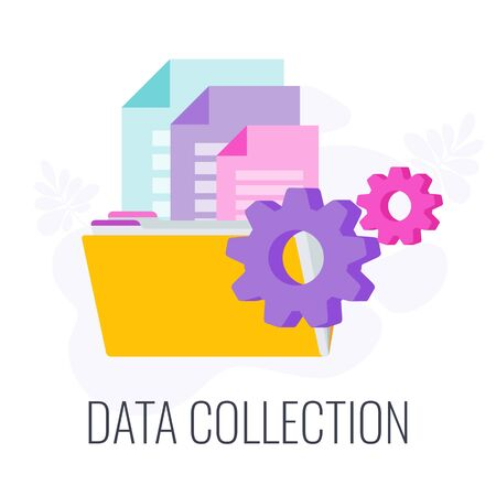 Data Collection Icon. Market research. Flat vector illustration.
