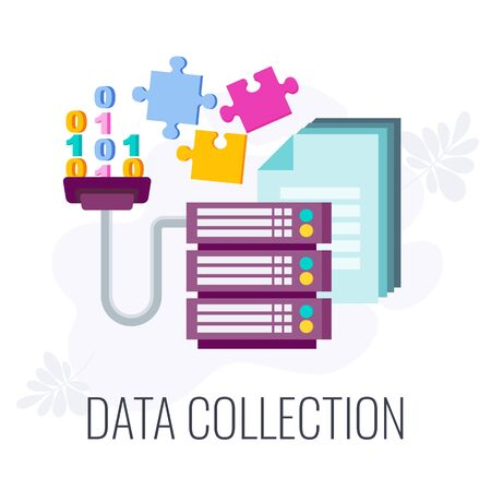 Data Collection Icon. Market research. Information about the market, company and customers is accumulated is accumulated on database servers. Flat vector illustration.