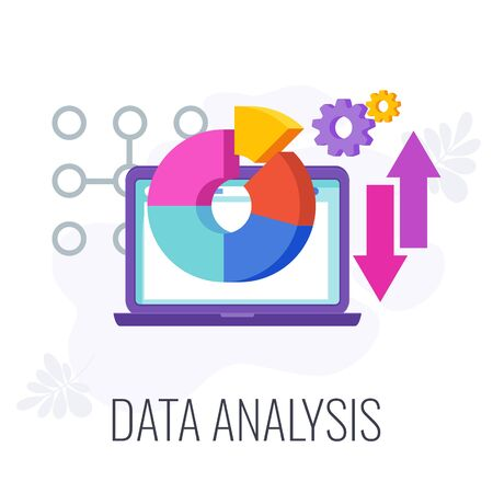 Data analysis icon. Market research. Chart and arrows on laptop screen. Define objective and problem. Call to action. Data collection and data processing. Flat vector illustration