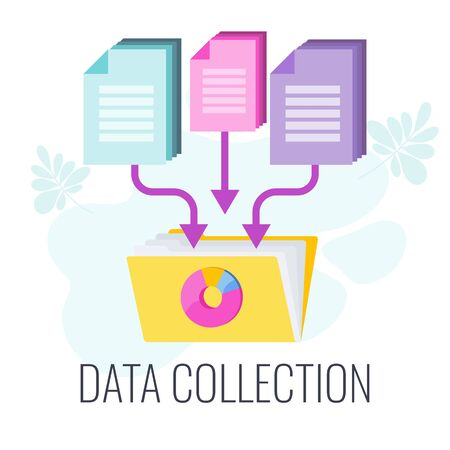 Data Collection Icon. Market research. Information about the market, company and customers is accumulated in data folders. Flat vector illustration.