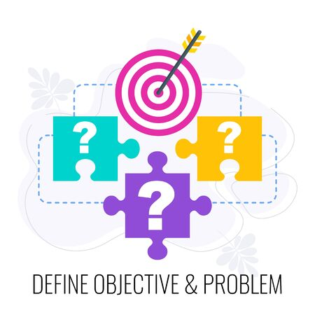 Define objective and problem icon. Market research. Research design, report and presentation. Call to action. Data collection and data processing. Data analysis. Flat vector illustration