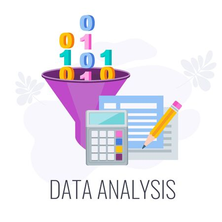 Data analysis icon. Market research. Define objective and problem. Research design, report and presentation. Call to action. Data collection and data processing. Flat vector illustration