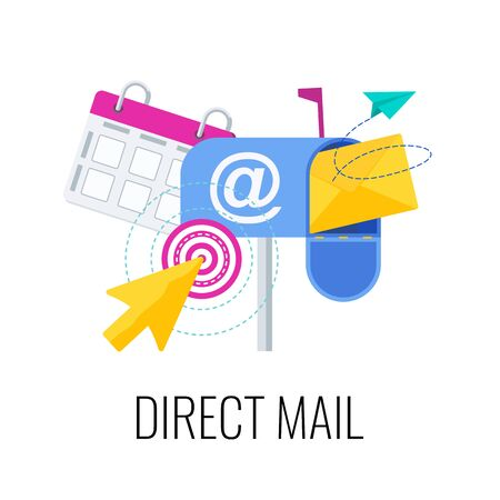 Direct mail icon. Outbound, inbound marketing. Envelope is in mailbox. Message in mail. Strategy, management and marketing. Flat vector illustration.