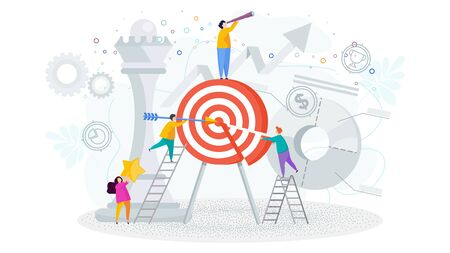 Little people near a huge target. Achievement of the goal, desired result, victory in the competition. Busines metaphor. Trendy flat vector style.