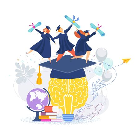 Word graduation concept. Graduation Caps and scrolls Thrown in the Air. Flat vector cartoon design of greeting, banner, invitation card.
