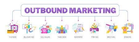 Outbound Marketing banner. Marketing Flat vector illustration.