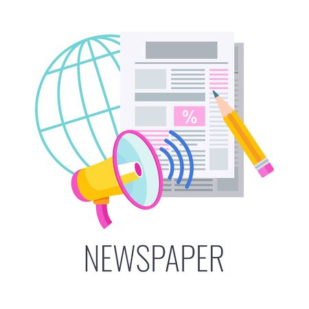 Newspaper flat vector icon. Print press. Outbound marketing.