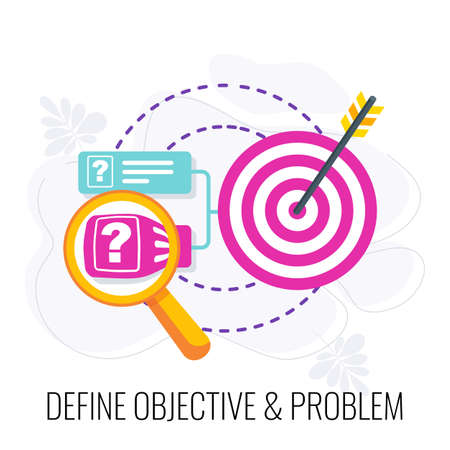 Define objective and problem icon. Market research.